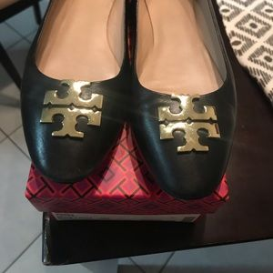 Authentic Black Raleigh Ballet Tory Burch shoes